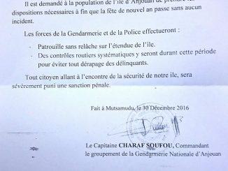 Le Communiqué du commandement de la gendarmerie.