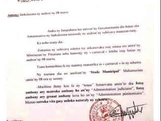 capture d'écran communiqué Ministère de la justice de Madagascar