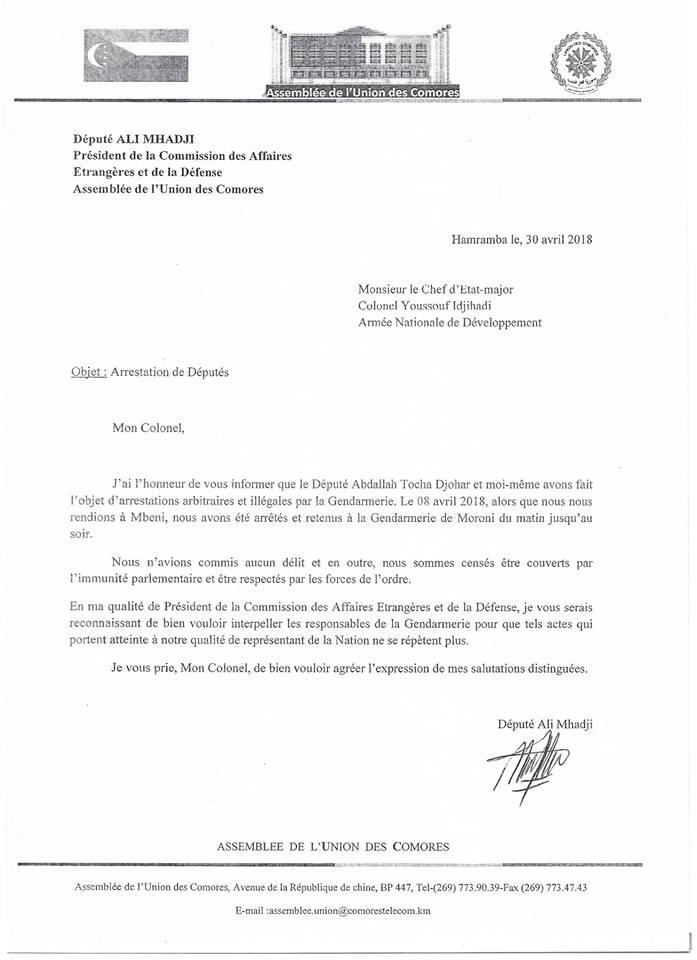 lettre à Idjihadi